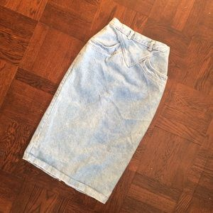 Vintage Denim High Waisted Midi Skirt